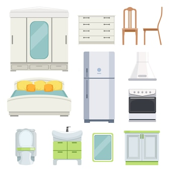 Mobiliário moderno para quarto, cozinha e sala de estar.
