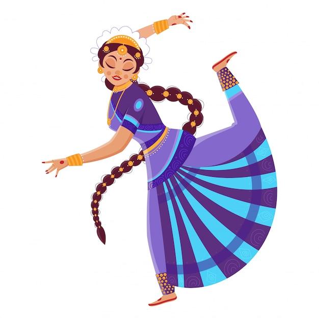 Moça bonita indiana que executa a dança de bharatanatyam no fundo branco.