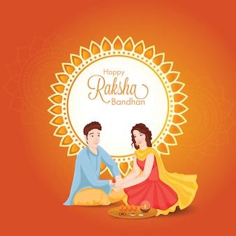 Moça bonita que amarra rakhi em seu irmão wrist com placa da adoração por ocasião de raksha bandhan feliz.