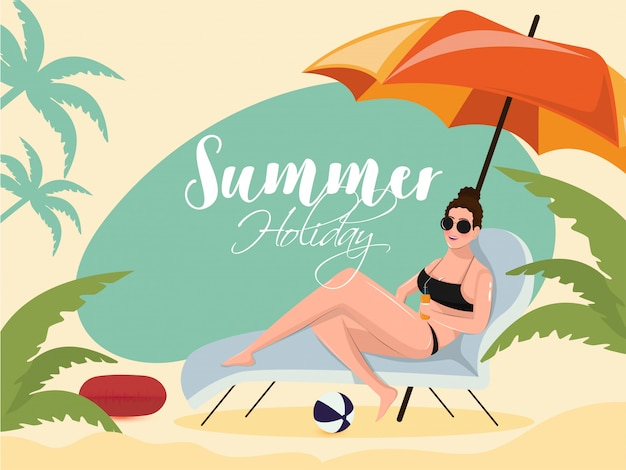 Moça bonita que relaxa na cadeira de praia para férias de verão