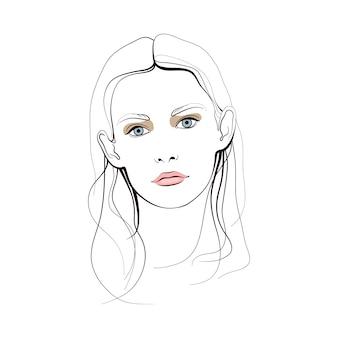 Moça com olhos azuis e cabelos longos. rosto abstrato. ilustração de moda.