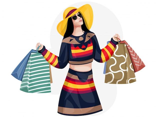 Moça moderna que guarda sacos de compras no fundo branco.