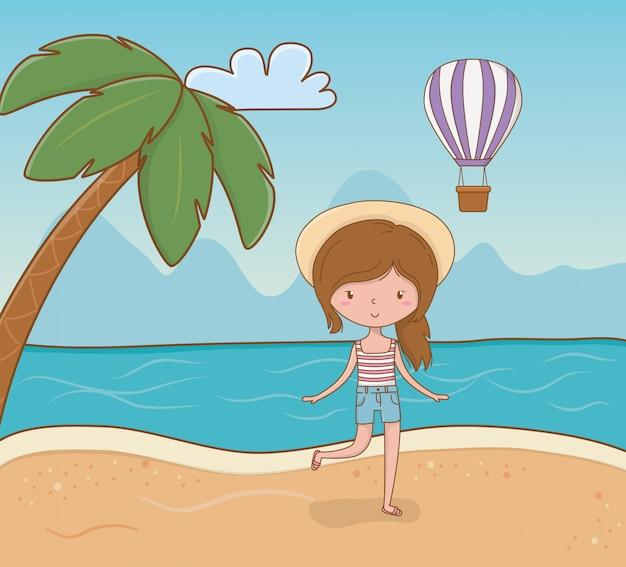 Moça na cena da praia