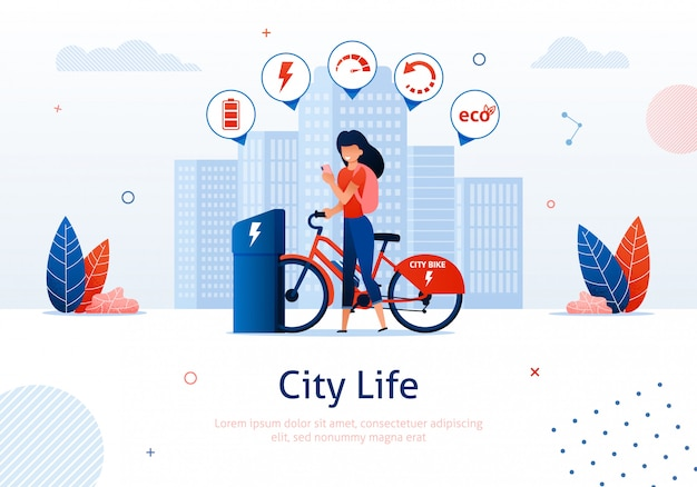 Moça que carrega a bicicleta elétrica na estação.