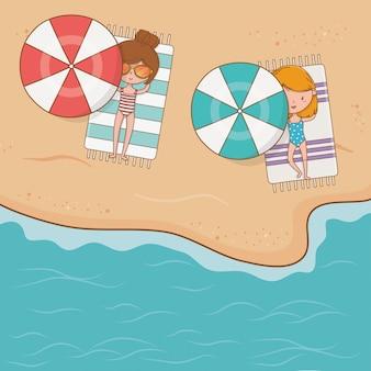 Moças na cena do airview da praia