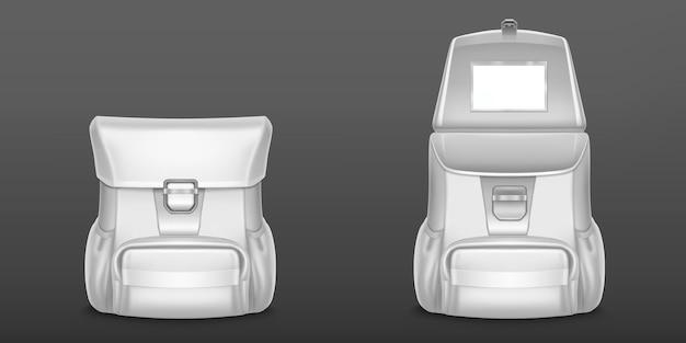 Mochila branca escolar ou mochila de viagem isolada em cinza Vetor grátis