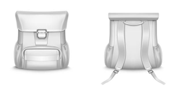 Mochila branca, mochila escolar ou de viagem em vista frontal e traseira.
