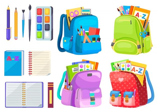 Mochila com caderno e caneta, escola