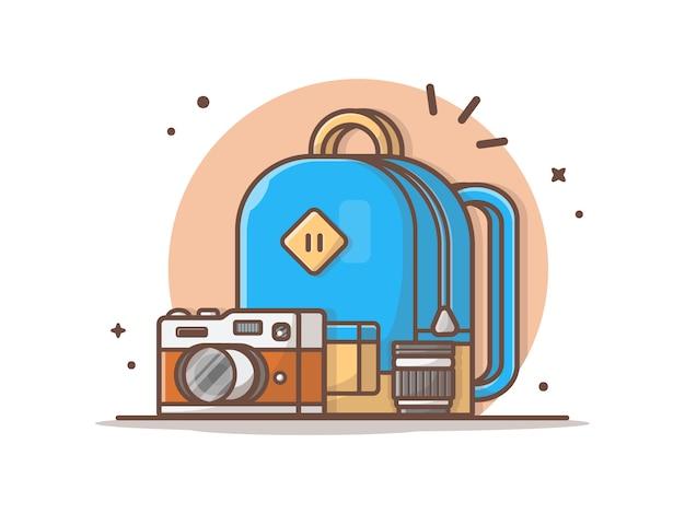 Mochila com câmera e lente vector clip-art ilustração