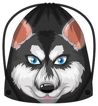 Mochila com cordão e padrão de cão husky siberiano