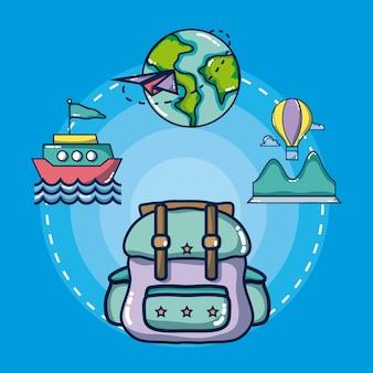 Mochila com ícones de viagens