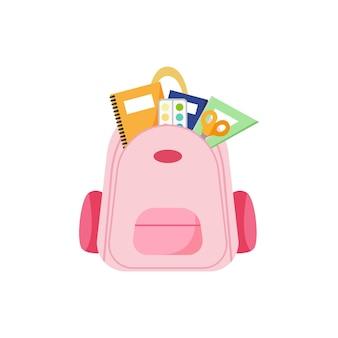 Mochila com itens escolares
