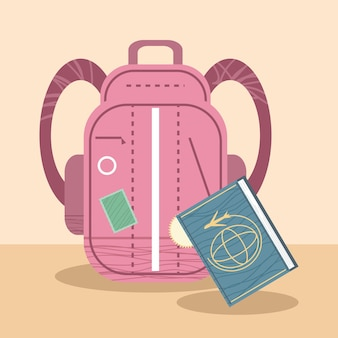 Mochila com passaporte