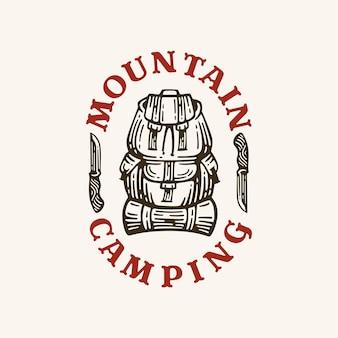 Mochila de acampamento de logotipo em ilustração retrô de estilo.