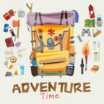 Mochila de aventura com objetos de viajante no quadro redondo. hora de aventura