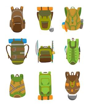 Mochila de campismo colorida definida no design plano. ilustração em vetor turista retrô mochilas.