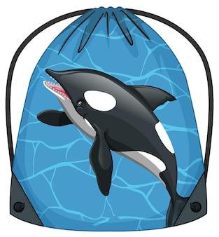 Mochila de cordão com padrão de baleia orca