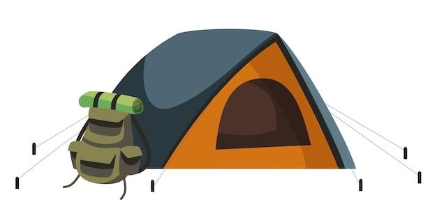 Mochila de viagem, saco de dormir enrolado ou tapete e objetos isolados da barraca do turista. equipamentos para caminhadas, montanhismo, expedições