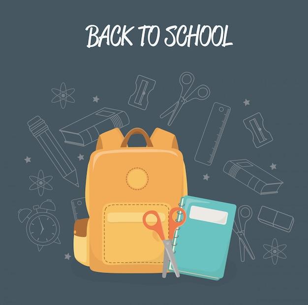 Mochila e suprimentos de volta à escola