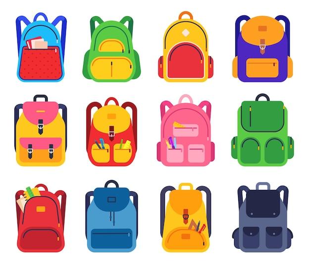 Mochila escolar. bolsas escolares coloridas com zíper e bolsos com material de papelaria para estudantes, mochilas para viajar, conjunto de vetores plana de estudo. ilustração de mochila e bagagem, mochila e mochila escolar