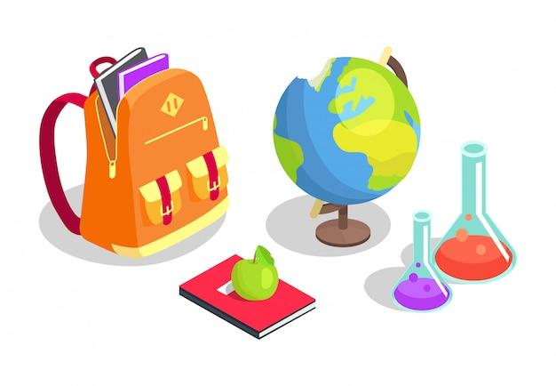 Mochila escolar cheia de livros, garrafas químicas