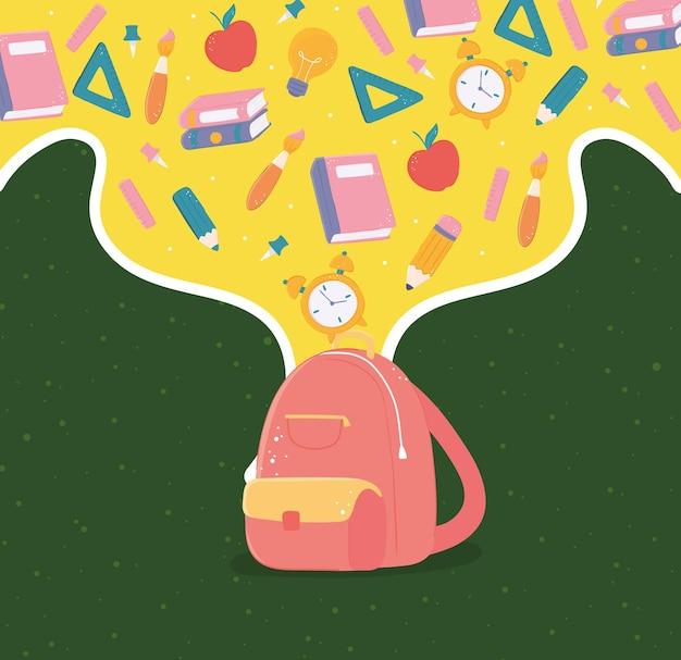 Mochila escolar e suprimentos