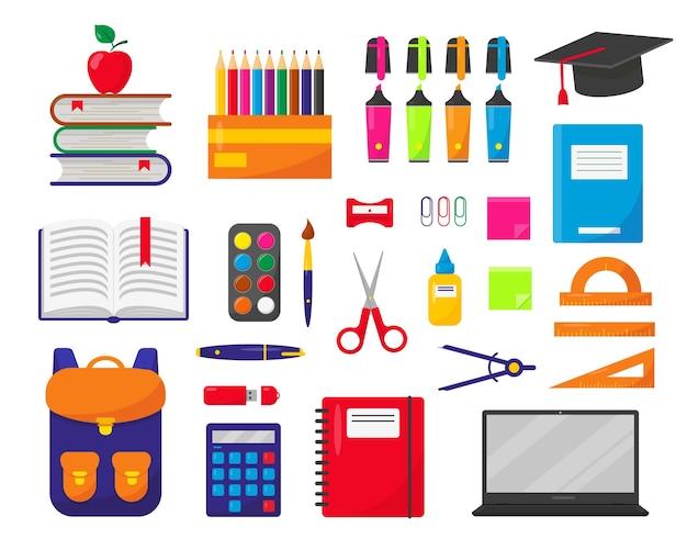 Mochila escolar laptop e suprimentos em fundo branco elementos para o conceito de backtoschool
