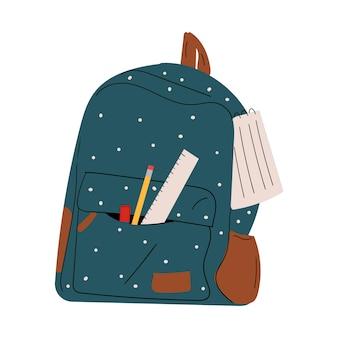 Mochila escolar turquesa para design de conceito. fundo de educação de vetor. educação primária.