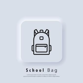 Mochila, ícone de linha de bolsa. ícone da bolsa escolar. de volta à escola. vetor. ícone da interface do usuário. botão da web da interface de usuário branco neumorphic ui ux. neumorfismo