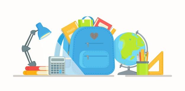 Mochila para a escola. ilustração de volta às aulas. hora de estudar. fazendo lição de casa na mesa.
