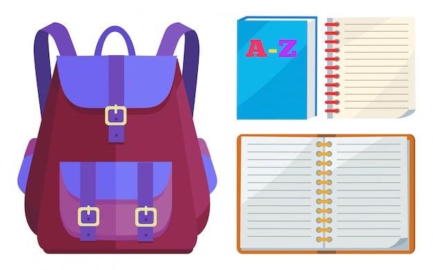 Mochila para crianças com caderno aberto abc
