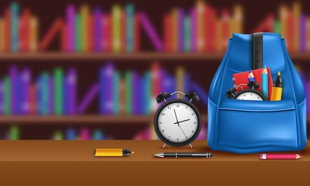 Mochila realista com artigos de papelaria. de volta à escola. mochila vermelha de estudantes universitários