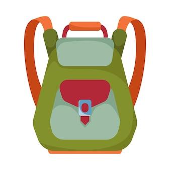 Mochila verde para aluno estudante ou clipart de viajante em um fundo branco isolado