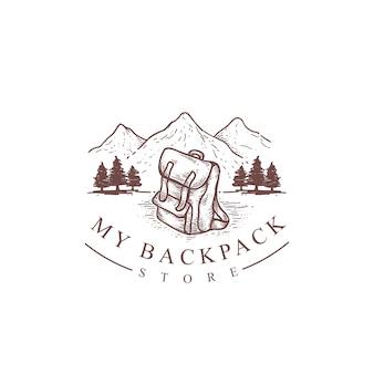 Mochila vintage e ilustração de montanha