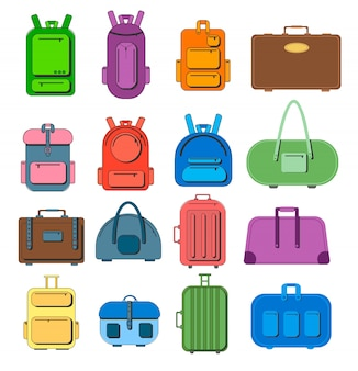 Mochilas, bolsas. mala de viagem, bagagem de viagem, mala para viagem de turismo de férias.