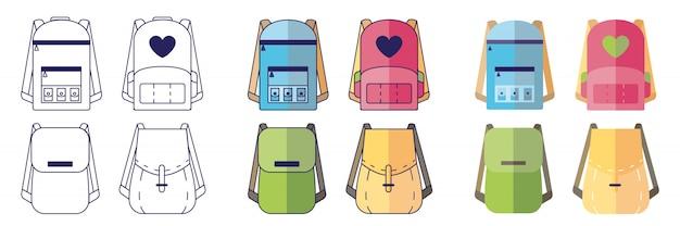 Mochilas conjunto de mochilas escolares em estilos diferentes.