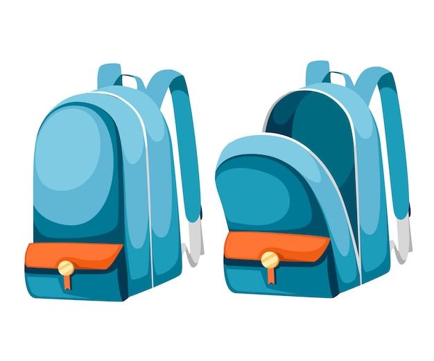 Mochilas escolares coloridas abertas e fechadas