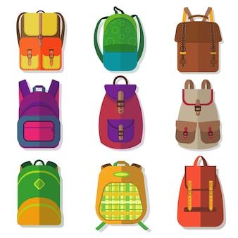 Mochilas escolares ou crianças mochilas coloridas isoladas em branco.