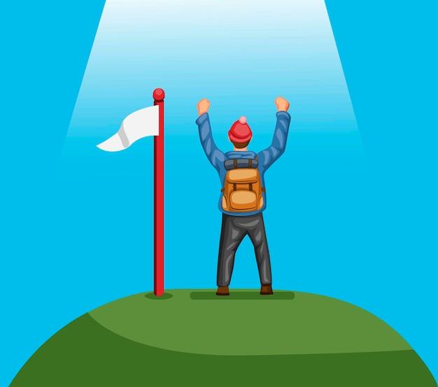 Mochileiro caminhadas escalada alcance no topo da montanha com bandeira