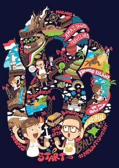 Mochileiro na incrível viajante na ilustração de indonésia