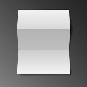 Mock em branco até folheto de papel com três dobras, flyer, broadsheet