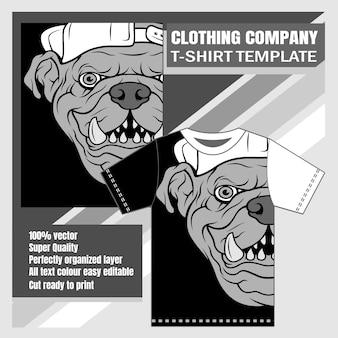 Mock-se cão de design de t-shirt da empresa de roupas usando boné