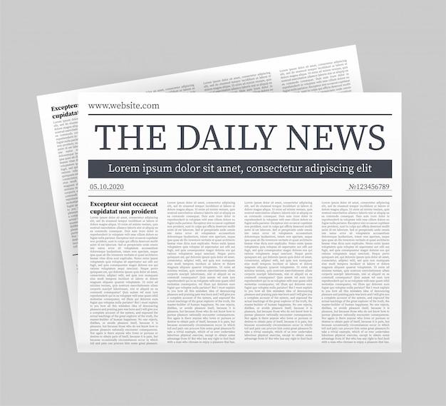Mock-se de um jornal diário em branco. jornal inteiro totalmente editável em máscara de recorte. ilustração das ações.