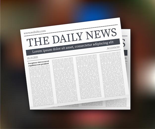 Mock-se de um jornal diário em branco. jornal inteiro totalmente editável em máscara de recorte. ilustração