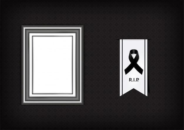 Mock-se luto símbolo com fita de respeito preto e moldura