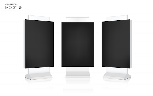 Mock-se realista led arregaçar banner quiosque exibir 3d pop