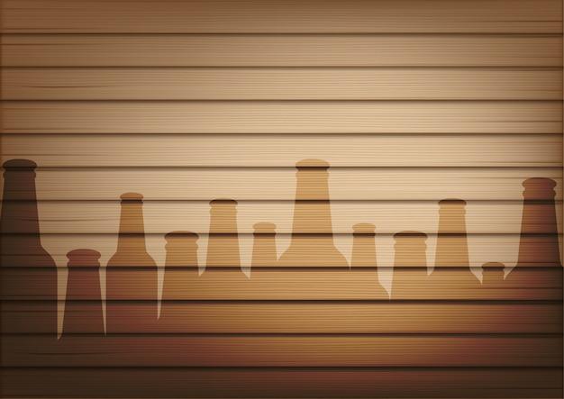 Mock-se realista madeira e sombra de vidro de garrafa de cerveja