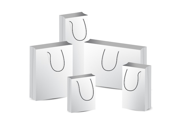 Mock-se saco de compras de papel realista sobre fundo branco