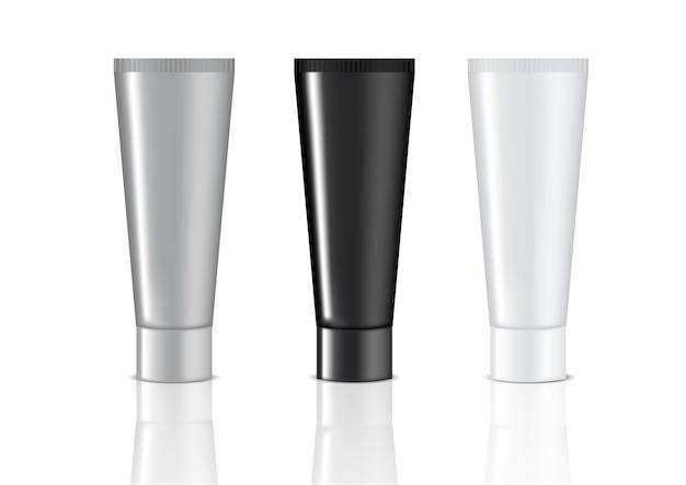 Mock-se tubo realista definido na ilustração de fundo branco