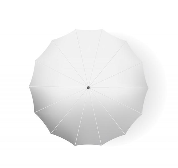 Mock up 3d realista branco guarda-chuva vista superior